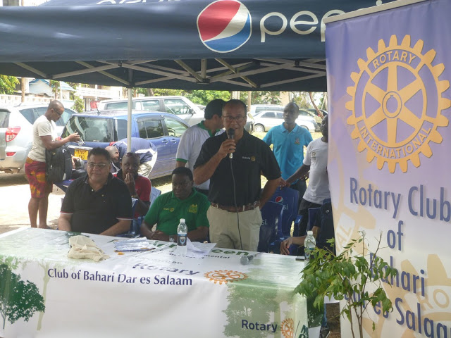 President Amyn Lalji of the Rotary Club of Bahari speaks during the groundbreaking ceremony